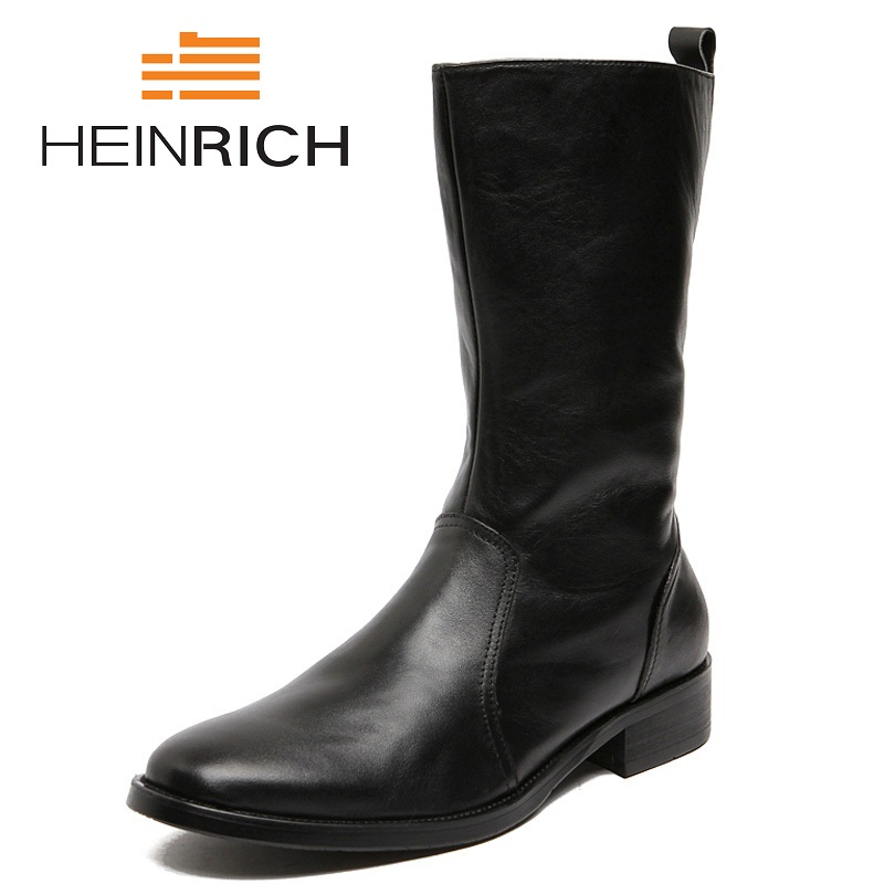 HEINRICH New Winter Mens Ankle Boots Blakc Shoes Man Leather Boots British Style Lightweight Platform Boots Stivaletti UomoHEINRICH New Winter Mens Ankle Boots Blakc Shoes Man Leather Boots British Style Lightweight Platform Boots Stivaletti Uomo