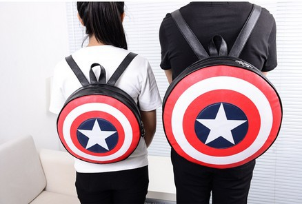Free Shipping Marvels The Avengers Captain America  Shield Backpack Backpack Bag Student Bag Round Ends Agents Of S.H.I.E.L.D.