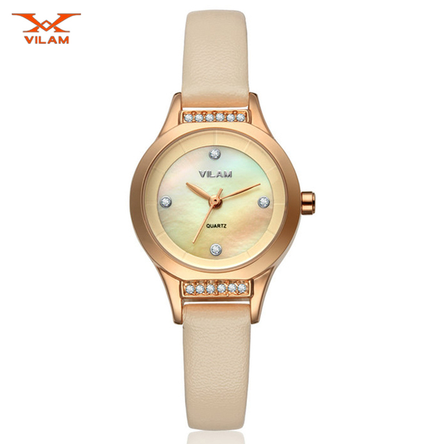 VILAM Повседневная Женщины Часы Reloj Mujer 2016 Простой Набрать Перл Дизайн Платья Женщин Часы Женские Часы Наручные Часы Кварцевые Часы-часы