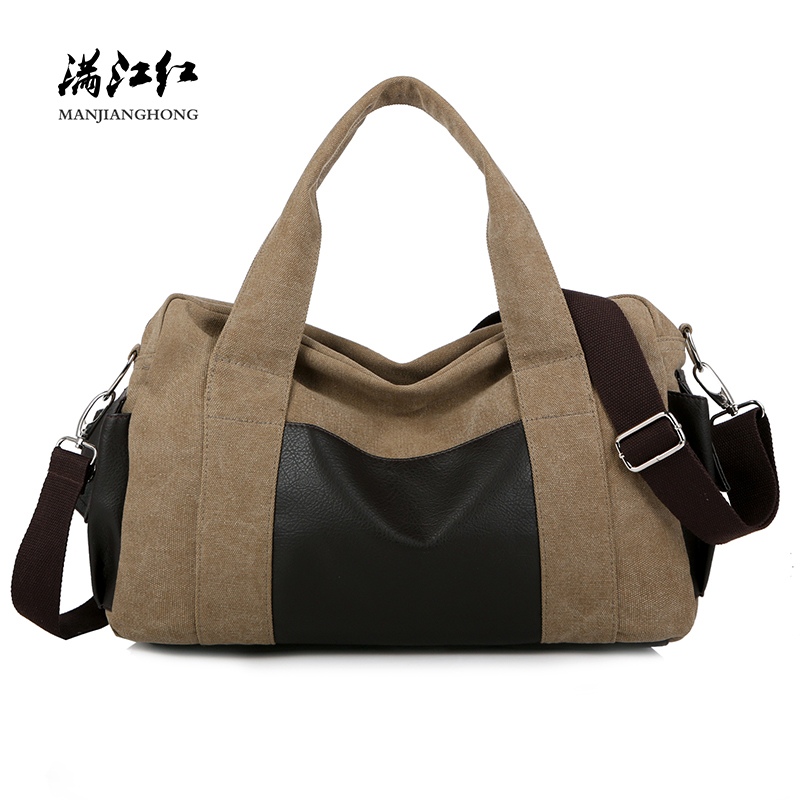 Canvas Shoulder Travel Bags Men Large Capacity Casual Women Tote Travel Bag Fashion Patchwork Leather Travel Laptop Bag 1030-4 new 2018 classic casual patchwork tote popular women canvas