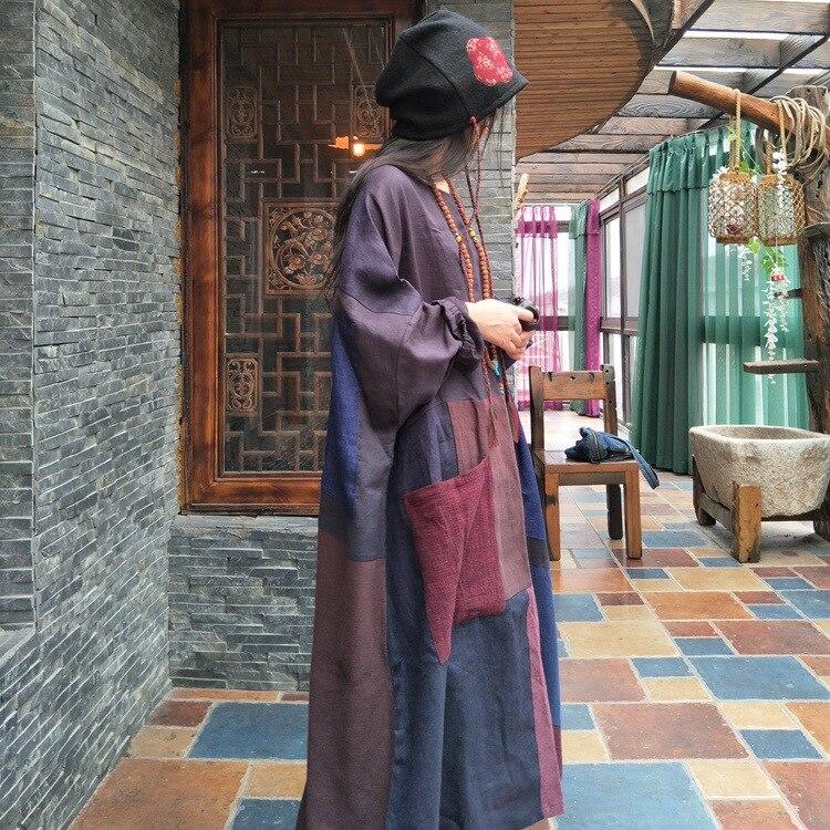 ผู้หญิงฤดูใบไม้ร่วง Patchwork ฝ้ายชุดผ้าลินินพลัสขนาดสุภาพสตรีค้างคาว Robe Vintage ย้อนยุค 2018 Spliced ชุดผ้าลินิน-ใน ชุดเดรส จาก เสื้อผ้าสตรี บน   3