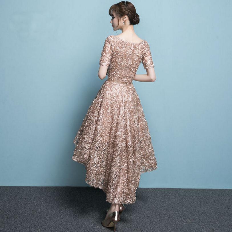2018 fashion brand Floral flower Asymmetrical night club dress female host and meeting banquet beatiful dress wj2076 custom size