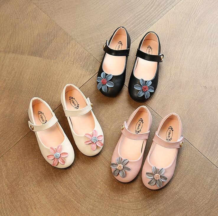 Flats Flowers Girls leather shoes princess Performance dance shoes spring and autumn models Korean childrens single shoes