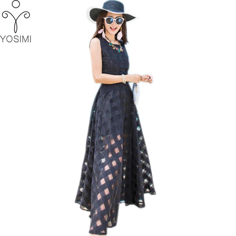 0713cf0f50c YOSIMI Летнее платье Черное классическое органза Макси длинное женское  платье с круглым вырезом без рукавов в