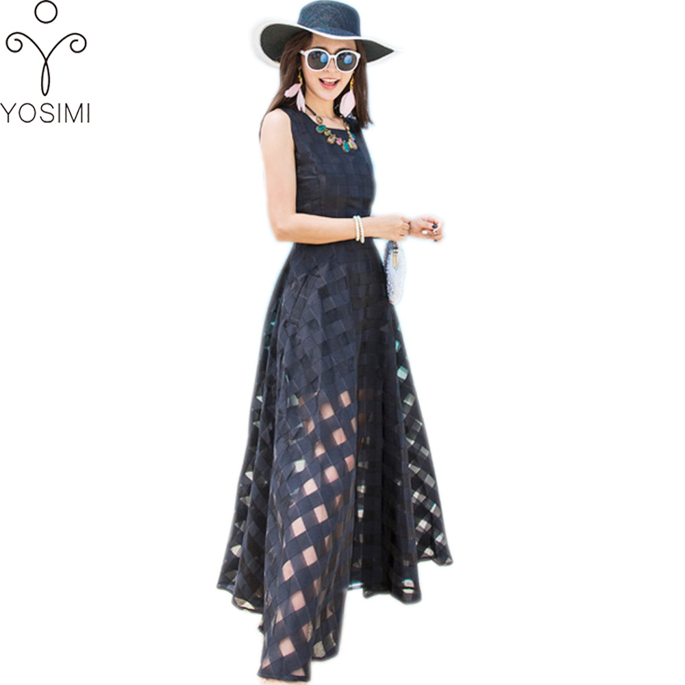 Yosimi Summer Dress Black Classic Organza Maxi Long Women Dress O-neck Sleeveless Plaid Bohemian Beach Long Dress Tunic Female Women's Clothing
