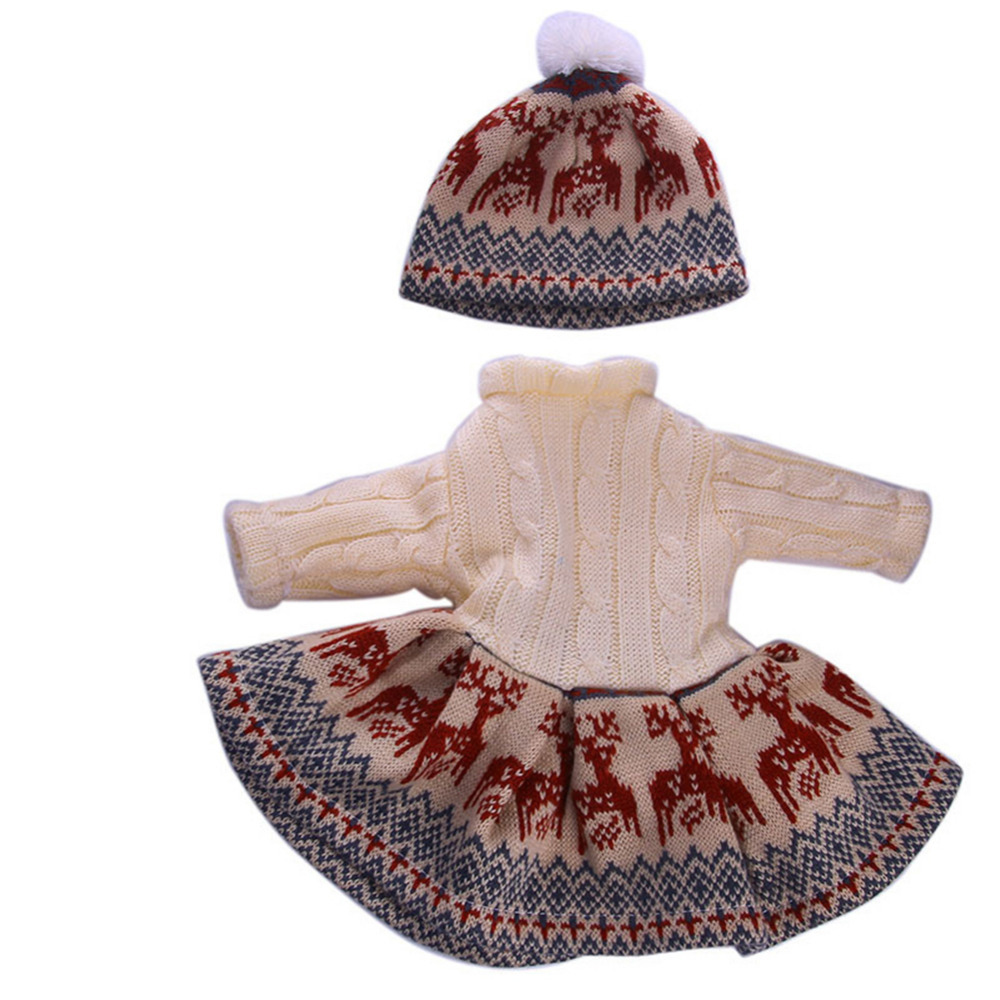 18inch Doll Clothes Skirt Beanie Hat 3 pcs//Set Clothes Outfits Costume Accessories Set for 18 Inch American Girl Doll Accessories Girl Gift Toy Today Dolls,Sweater