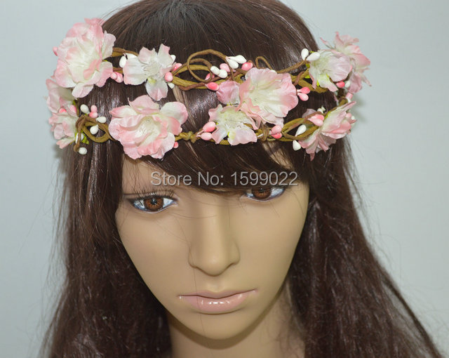 Vintage Zarten Rosa Blumenstirnband DIY Braut Reif Blume Haar-accessoires für Frauen Erwachsene Hochzeit Prinzessin Stirn crown
