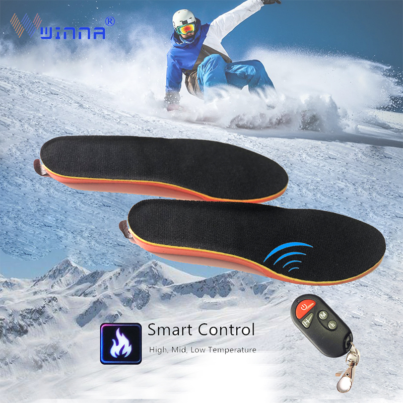 Electrically Heated Insoles w Remote Control Winter Heating Shoe pads Thermal Breathable Heel Lift Insoles EVA