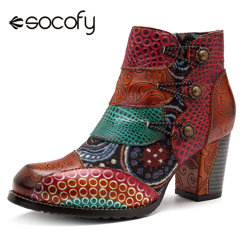 Socofy Vintage Splicing Printed Ankle Boots For Women Shoes Woman Genuine Leather Retro Block High Heels Women Boots 2020