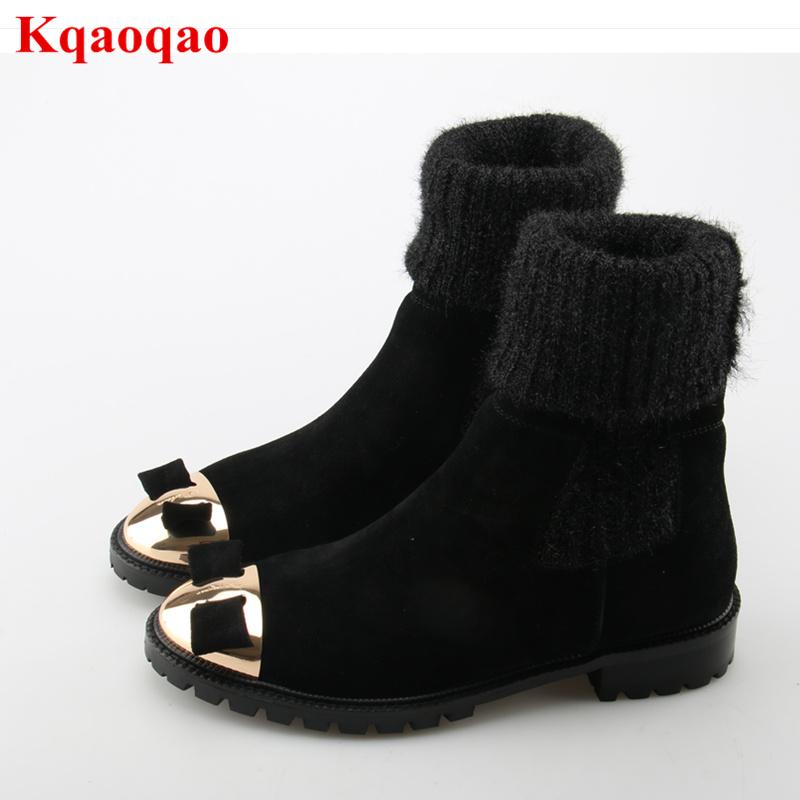 все цены на Metal Round Toe Bow Tie Decor Women Boots Low Heel Sock Booties Luxury Brand Super Star Runway Shoes Warm Winter Mid-calf Boots онлайн