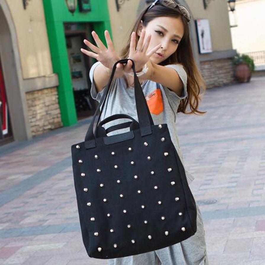 Women's Wild Canvas Nails Messenger Bag Shoulder Bag Ladies Solid Color Zipper Handbag Bucket Bag #F