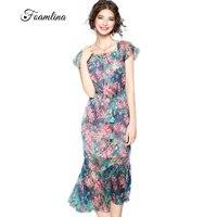 Foamlina Elegant Women S Silk Dress 2017 Summer Floral Print Mermaid Dresses O Neck Short Sleeve