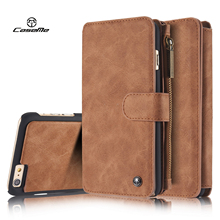 Original Caseme Retro Genuine Leather Wallet Case for iPhone SE 5 5s 6 6s plus Magnetic Flip Phone Bag with Card Slots