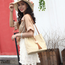 Summer Women Casual Beach Straw Bag Vacation Handmade Eco-friendly Braid Vintage Shoulder Bag Bucket Girls Reusable Handbag Gift(China)