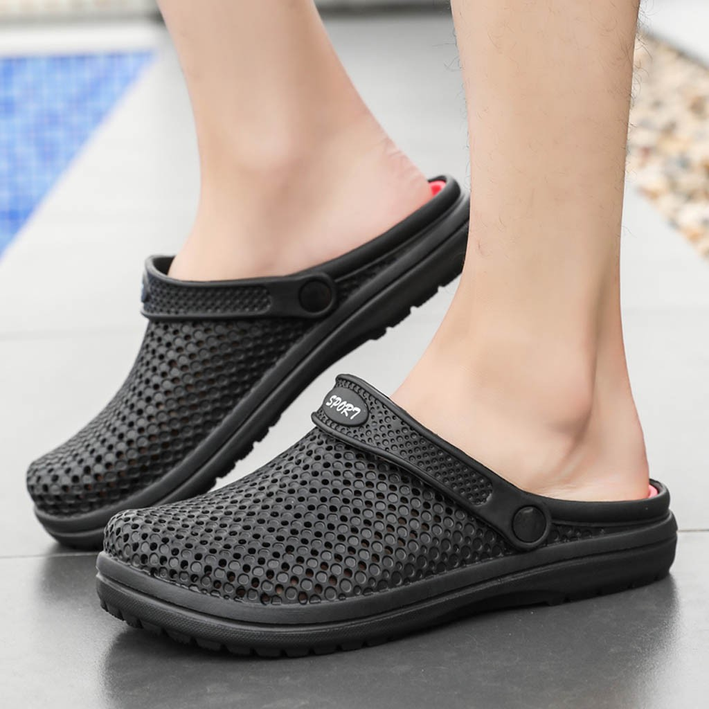 Men/'s Beach Sandals Slippers Hollow-out Flat Beach Shoes Breathable Non-slip New