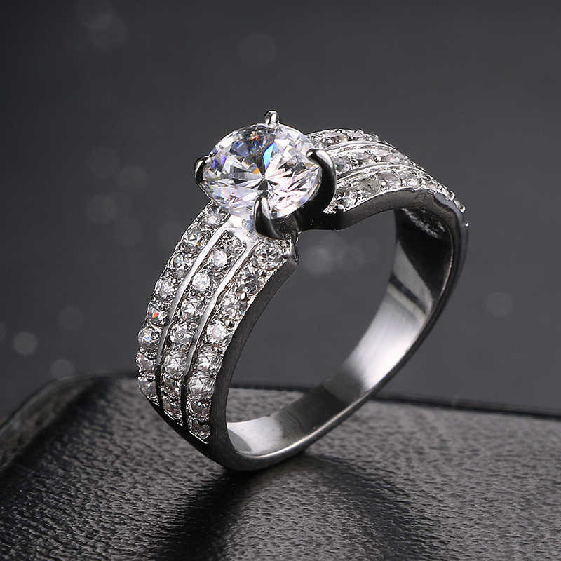 Emmaya Romantic Charming High Quality Zircon Women Finger Ring Real White Gold Color Crystal Ring Wedding Gift