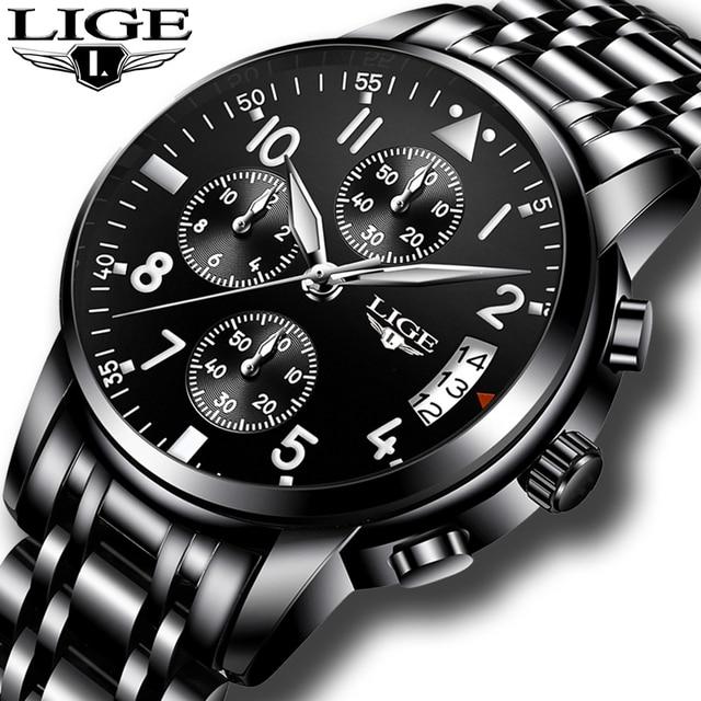 3e7b778f83a LIGE Mens Relógios Top Marca de Luxo relogio masculino de Negócios de Moda  Relógio de Quartzo