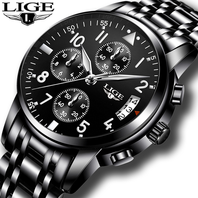 ff507fe8dd9 relogio masculino LIGE Mens Watches Top Brand Luxury Fashion Business  Quartz Watch Men Sport Full Steel Waterproof Black Clock