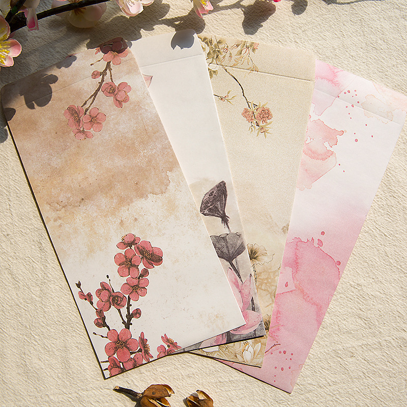 Us 1 27 20 Off 3pcs Pack Kawaii Watercolor Ink Envelope Drawing Flowers Envelopes Vintage Retro Chinese Style For Card Scrapbooking Gift Sl1109 In