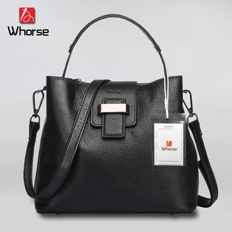 ФОТО [WHORSE] Brand New Women Handbags Bucket Genuine Leather Bag Woman Cowhide Handbags Shoulder Messenger Bags Casual Tote WB50719