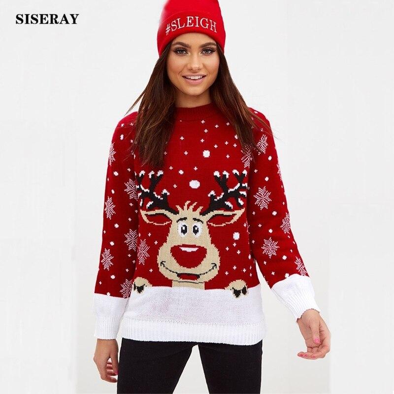 Kersttrui Man En Vrouw.Kopen Goedkoop Zwart Rood Gebreide Kerst Trui Vrouwen O Hals Jumpers