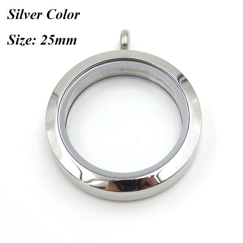 Водонепроницаемый Плавающий Шарм медальон ожерелье 20 мм 25 мм 30 мм 316L нержавеющая сталь память медальон кулон для женщин - Окраска металла: 25mm