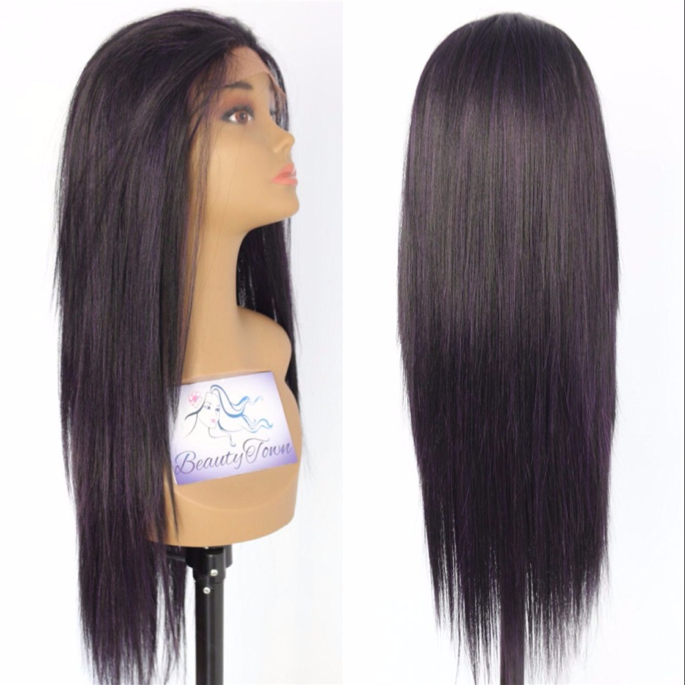 BeautyTown Purple Mix Black Color Heat Resistant Straight Blogger Daily Makeup Synthetic Lace Front Party Wigs