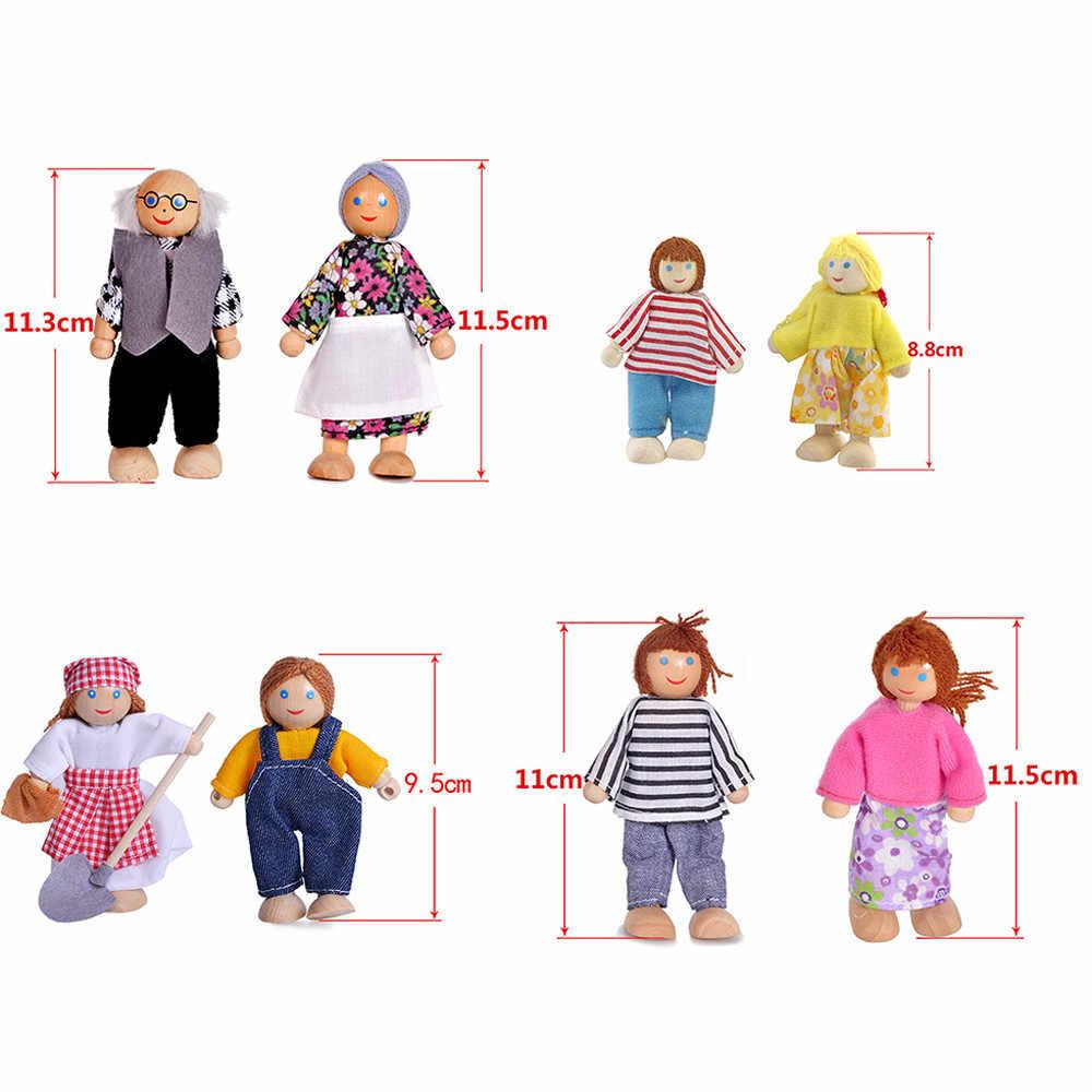 1 família de Seis Pessoas Da Família Boneca Brinquedos De Madeira Pequeno Conjunto Figuras Vestidas Personagens Crianças Crianças Brincam Presentes Boneca Crianças Educacional brinquedos
