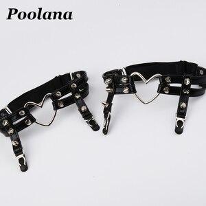 Image 3 - 1 juego = 6 piezas de ropa de Cosplay, Collar de Gargantilla Kawaii Lolita, arnés, sujetador de cuero PU, cinturón de cintura, tutú, liguero con incrustaciones de volantes, cinturones