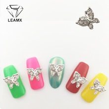 LEAMX 10Pcs Nails Art Glitter Rhinestone Butterfly Nail Jewelry 3D Metal Alloy Nail Art Decrotions Nails Charms For ManicureL370