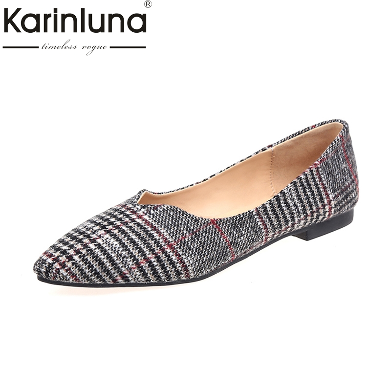 KarinLuna 2018 New Wholesale Dropshipping Slip On Pointed Toe Flats Shoes Women Fashion Comfort Spring Summer Shoes Footwear 2017 new fashion spring summer boat shoes women candy color flats pointed toe slip on flat fashion casual plus size pu shoes