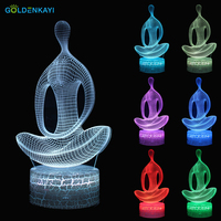 3D LED Moon Lamp Originality Night Lights Atmosphere Visual Lamp Touch Meditation Yoga Bedside Seven Colors Light