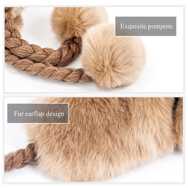 Trapper Warm Faux Fox Fur Bomber Beanies Wool Knit Pom Pom Ear flaps Hat