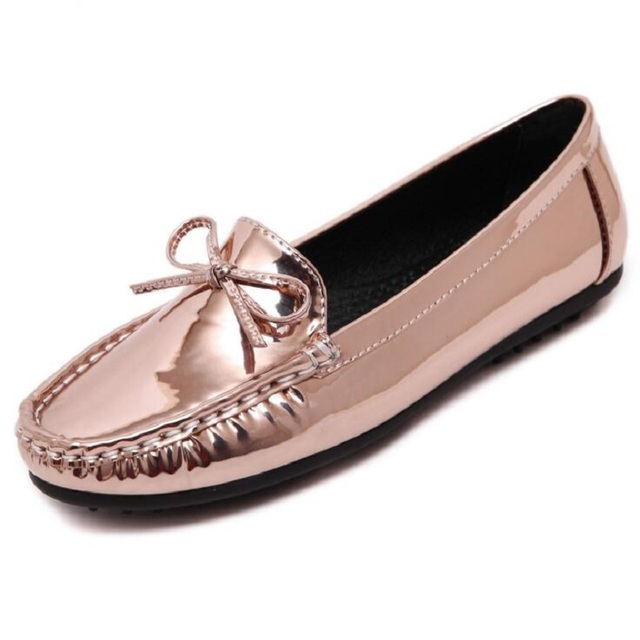 siketu Black Sliver Women Moccasins Driving Loafers Female Metal leather Casual Flats Shoes Women Bow Boat Shoes Flat Heel 35-40