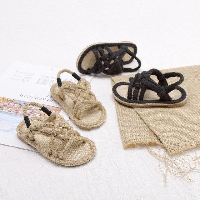 Filles sandales enfants Gladiador Jute Sandalia 2019 été confortable sandales plate-forme plat enfants mode sandales de plage décontractées 2