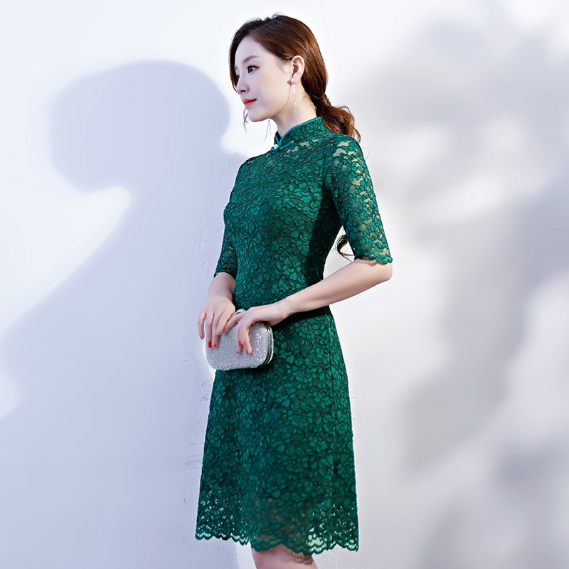 New Arrival Chinese Women s Short Sleeve Lace Qipao Classic Flower Cheongsam Sexy Mini Dress Summer