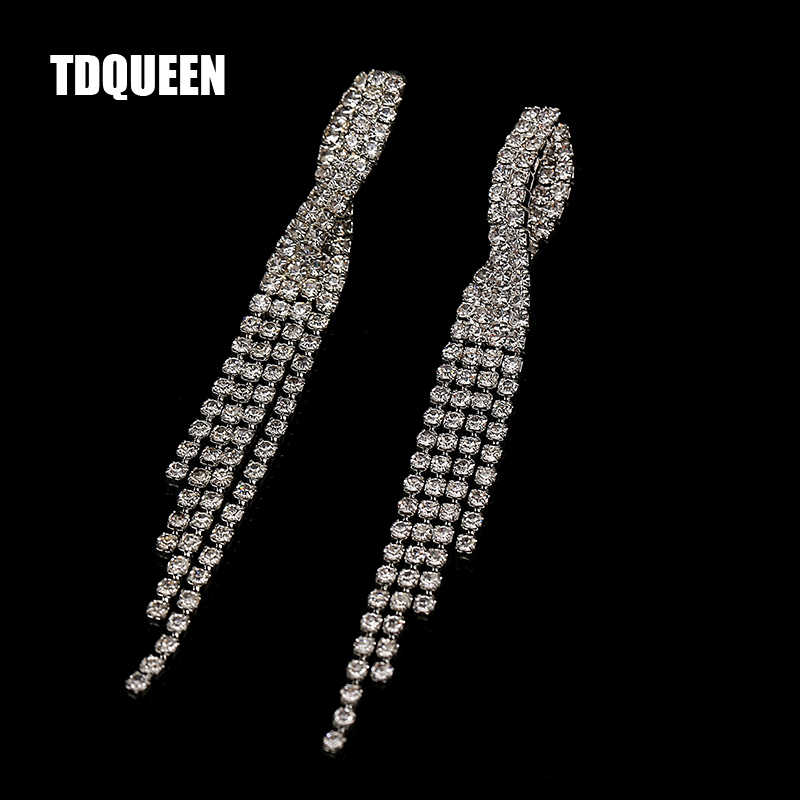 TDQUEEN Bridal Earrings For Women Wedding Party Long Tassel Dangle Erring Korean Fashion Jewelry Easy Style Ear Jewelry Earings