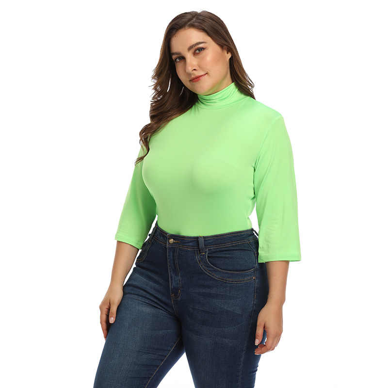 Autumn Plus Size 3XL 4XL Turtleneck tshirt Women Long Sleeve Three Quarter Slim Fit Big Size Basic Tops Casual tshirt Ladies