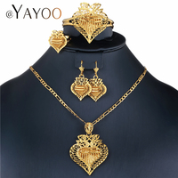 AYAYOO Luxury Bridal Jewelry Sets Gold Color Nigerian Wedding African Beads Jewelry Set Ladies Fashion Turkish Jewellery Set