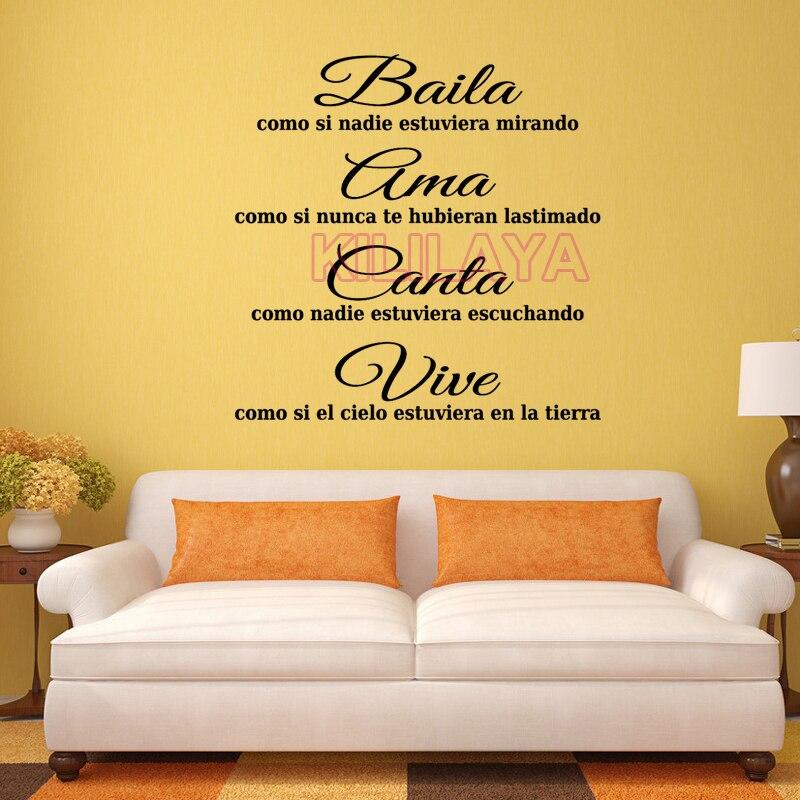 Spagnolo motto Baila Ama Canta Vive Adesivi Murali In Vinile Per ...