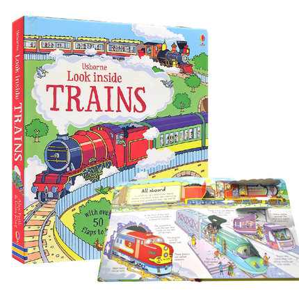 English 3D Usborne Look Inside Trains Picture Book Education Kids Child With Over 50 Flaps To Lift Hard Cover