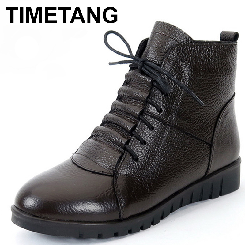 TIMETANG Plus Size(35-43) Winter Women Shoes Woman Genuine Leather Flat Ankle Boots Female Lace-up Snow Boots Women Boots C086 wdzkn winter snow boots female short tube warm boots lace up round toe flat heel ankle boots for women winter shoes plus size 42