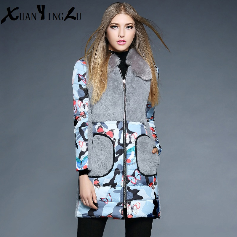 ФОТО XUANYINGLU Coats Women 2016 New Winter Coat High-end fashion brand Long sleeves Fur collar Cartoon Thick Down Coat Slim Parkas