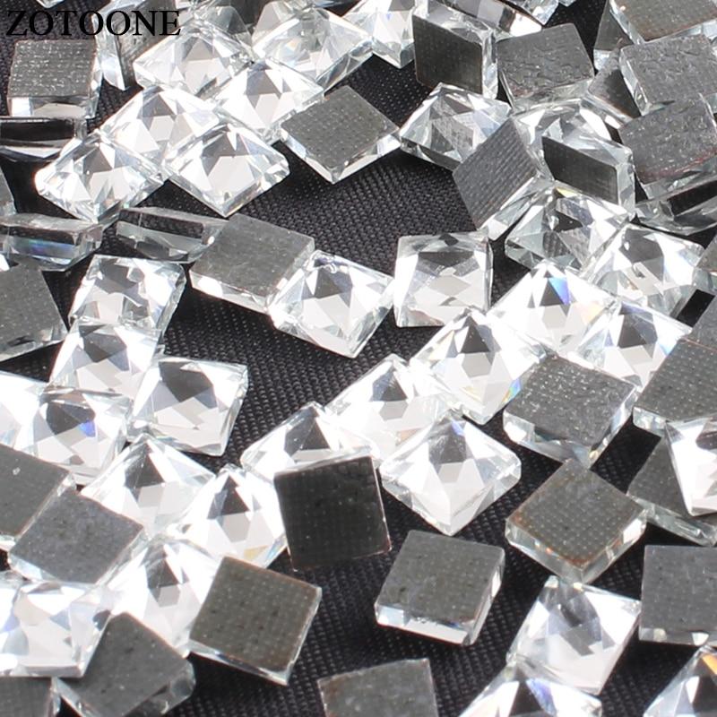 ZOTOONE 6 6CM HotFix Flatback Square Crystals Rhinestones Glass Stones Nail  Rhinestone Iron On Strass 99c05e0a1aa8