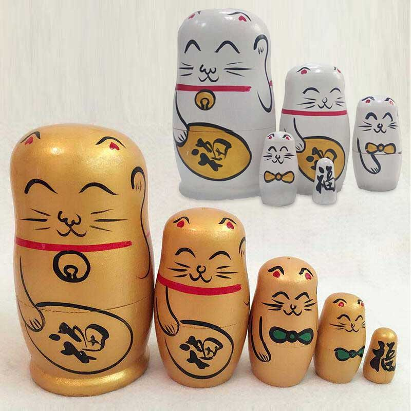 5pcs Fortune Cat Nesting Dolls Matryoshka Madness Russian Doll Popular Handmade Kids Girl Christmas Gifts Toy @Z86