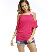 2017 Summer Sexy Off Shoulder T Shirt Women Casual O Neck Short Sleeve Tshirt Loose Tops Tees Female T-shirt Plus Size S-XXL купить дешево онлайн