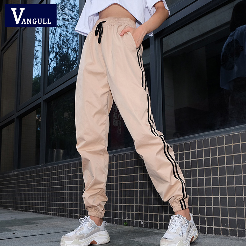 Vangull Casual Pants Women's Sweatpants And Joggers Patchwork Striped Sweat Pants 2019 New Spring Autumn High Waist Trousers