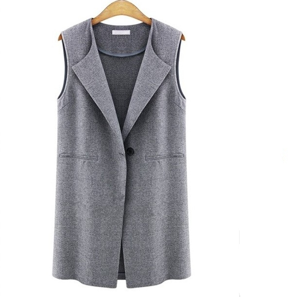 Chalecos Mujer 2017 Spring Street Fashion European And American Female Single Button Vest All-Match Women Waistcoat Gilet Femme