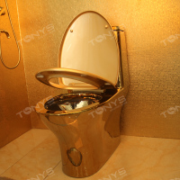 Household ceramic gold color toilets one piece seat toilet Siphon glazing water pumping Luxurious gold zuopianqi closestool