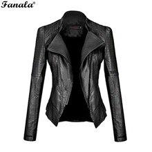 Фотография FANALA 2017 Coats Faux Leather Jacket Women Motorcycle Autumn Winter Outerwear Short Zipper Long Sleeve Slim Fitted Jackets#30